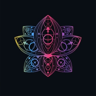 Lotus flower with geometric pattern linear illustration