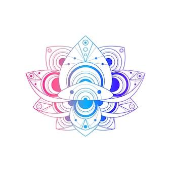 幾何学模様のベクトル線形イラストと蓮の花。オリエンタルフローラルグラデーションシンボル