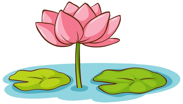 A lotus flower with lotus leaves on the water cartoon style