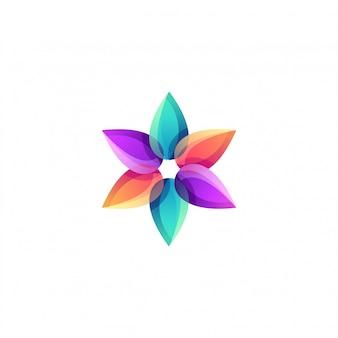 Lotus flower yoga colorful logo