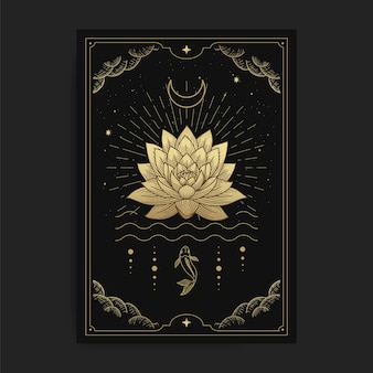 Lotus flowers blooming on the water decorated with the moon and fish, card illustration with esoteric, boho, spiritual, geometric, astrology, magic themes, for tarot reader card