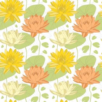 シームレスパターンの蓮の花