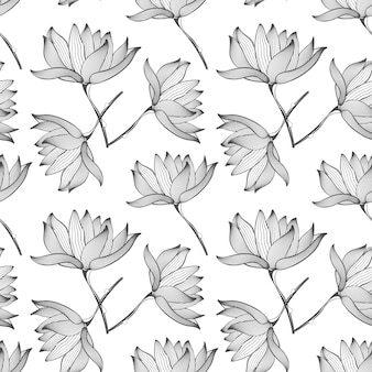 Lotus flowers seamless pattern