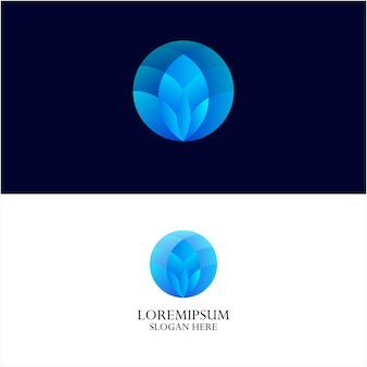 Lotus and gradient color logo template-1