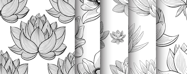 Lotus lily water flower seamless pattern set in a vintage style