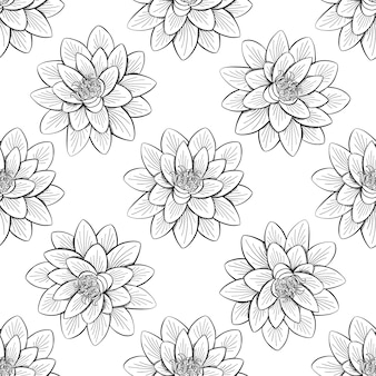 Lotus lily water seamless pattern