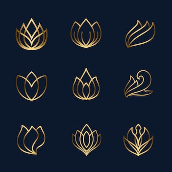 Lotus line icon set