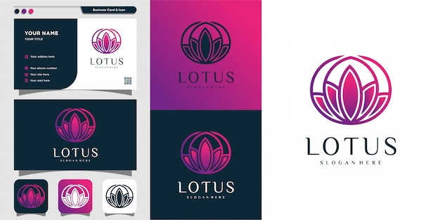 Lotus logo and business card template, gradient, modern, unique, spa, beauty, health,
