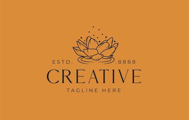 Lotus logo design template vector illustration of floating lotus