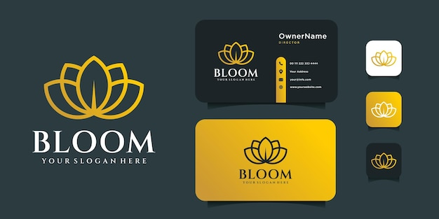 Lotus logo design with business card template. Premium Vector