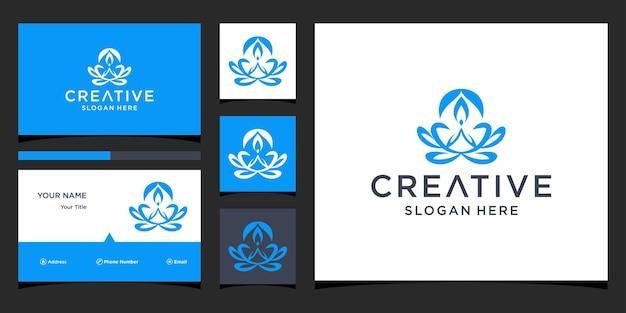 Дизайн логотипа лотоса с шаблоном визитной карточки