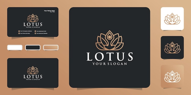 Логотип лотоса. линейный стиль, шаблоны дизайна красоты и моды и визитные карточки