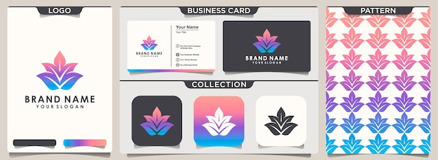 Lotus logo and pattern design and business card design