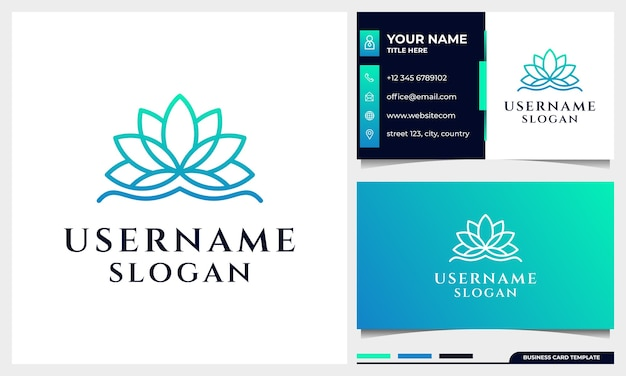 Lotus, magnolia flower line art style logo design. yoga, spa, beauty salon luxury logo with business card template