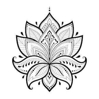 Lotus mehndi flower pattern for henna drawing and tattoo. decoration in oriental, indian style. doodle ornament. outline hand draw.