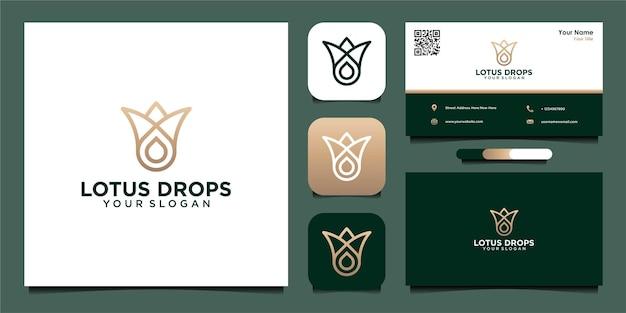 Дизайн логотипа капли масла лотоса с линией и визитной карточкой