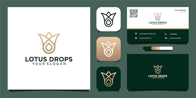 Lotus oil drops logo design with line and business card
