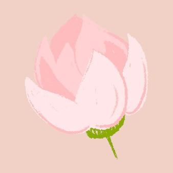 ロータスピンクの花のステッカー手描きイラスト