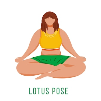 Lotus pose flat design illustration