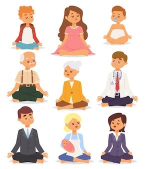ロータスポジションヨガポーズ瞑想アートリラックスして人々は白い背景概念文字幸せでリラックス