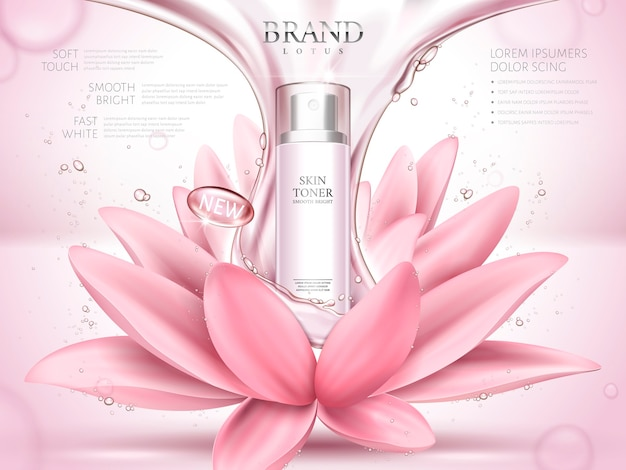 Lotus skin toner ad contained in bottle