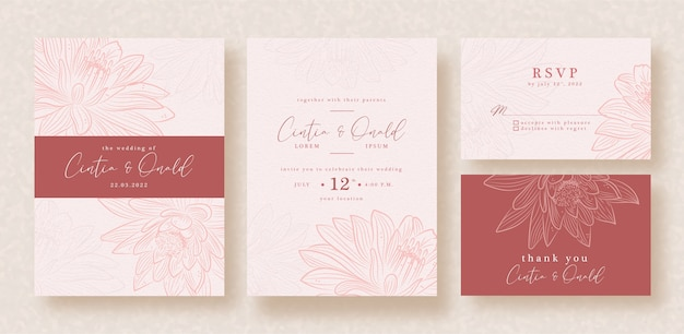 Lotus vector art on red pink wedding invitation template
