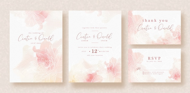 Lotus vector art on splash wedding invitation template