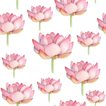 Lotus watercolor seamless pattern