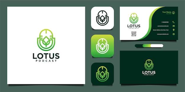 Лотос с дизайном логотипа подкаста и визитной карточкой