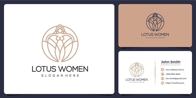 Логотип монолинии женщины лотоса и визитная карточка