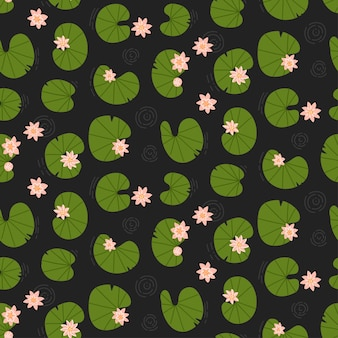 Lotuses in the dark pond top view seamless lily pattern water flowers background