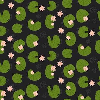 Лотосы в темном пруду, вид сверху, бесшовные модели лилии, водные цветы, фон