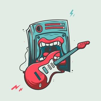 Громкий динамик играет на гитаре иллюстрации шаржа