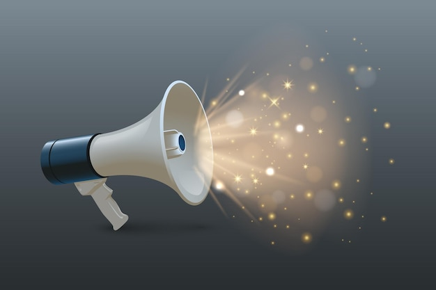 Loudspeaker 3d realistic illustration megaphone with shiny lighting on gray background