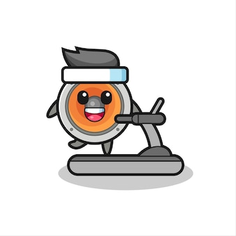 Громкоговоритель мультипликационного персонажа, идущего на беговой дорожке, милый стиль дизайна для футболки, наклейки, элемента логотипа