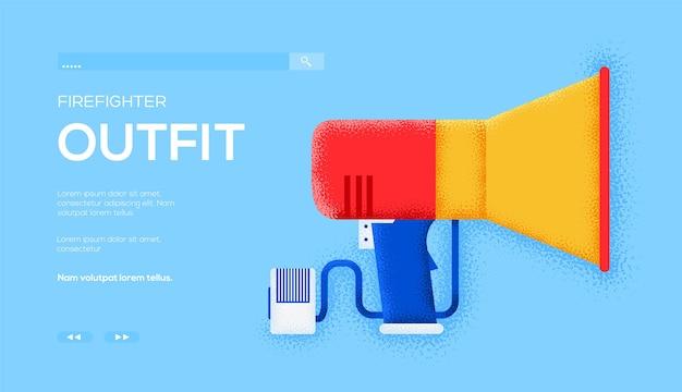 확성기 개념 전단지, 웹 배너, ui 헤더, 사이트 입력. 그레인 텍스처 및 노이즈 효과.
