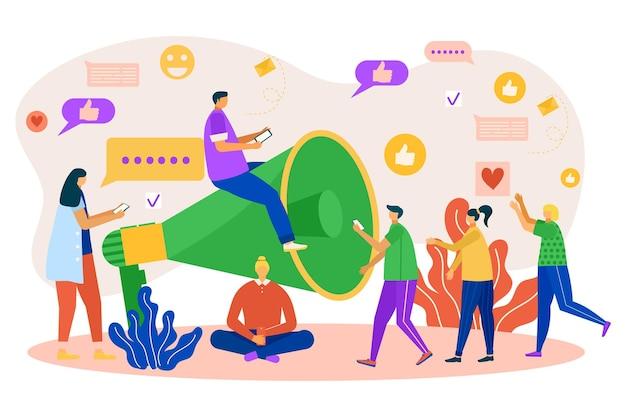 소셜 미디어 마케팅 개념, 벡터 일러스트 레이 션에 대 한 확성기. 남자 여자 캐릭터는 확성기, 온라인 프로모션으로 이동합니다. 네트워크 메시지 아이콘을 통한 통신, 남성은 광고를 만듭니다.