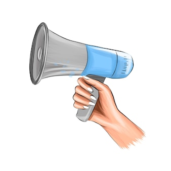 Loudspeaker in hand megaphone shout from multicolored paints colorful drawing