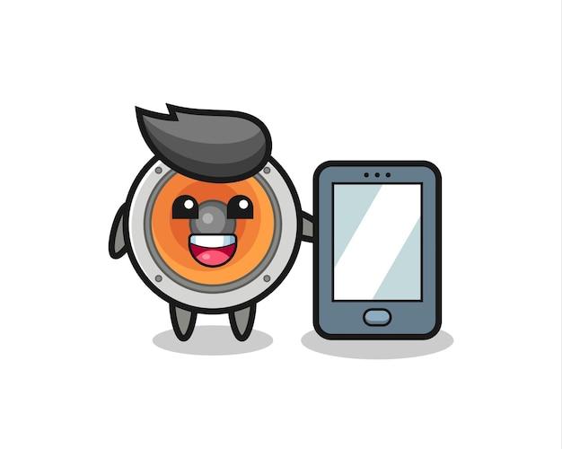 Мультфильм иллюстрации громкоговорителя держит смартфон, милый стиль дизайна для футболки, наклейки, элемента логотипа