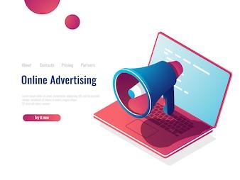スピーカー等尺性のアイコン、オンラインインターネット広告とプロモーション、smmソーシャルメディアマーケティング