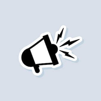 Loudspeaker or megaphone sticker. alert, announcement icon. vector on isolated background. eps 10.