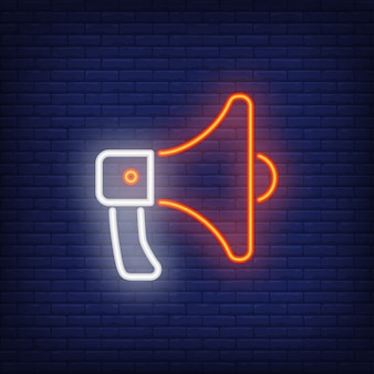 Loudspeaker neon sign element. night bright advertisement.