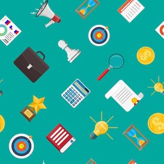 Громкоговоритель или мегафон и различные бизнес-иконки. бесшовные модели. цифровой маркетинг, социальные сети, сети. элемент объявления. векторная иллюстрация в плоском стиле