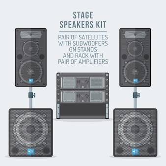 Loudspeakers kit satellites on stands with subwoofer and amplifiers rack