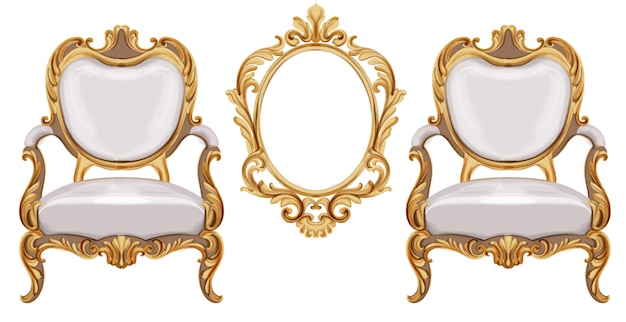 Louis xvi style chair with golden neoclassic ornaments