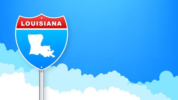 도 표지판에 루이지애나 지도입니다. 루이지애나 주에 오신 것을 환영합니다. 벡터 일러스트 레이 션.