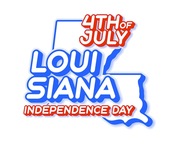 Louisiana state 4th of july independence day with map and usa national color 3d shape of us
