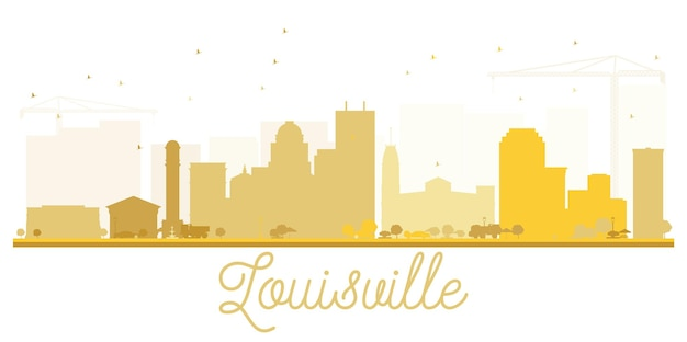 Louisville city skyline golden silhouette. simple flat illustration for tourism presentation, banner, placard or web site. cityscape with landmarks.