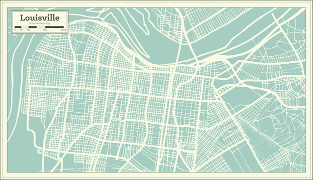 복고 스타일 루이빌 켄터키 미국 도시지도. 개요지도.