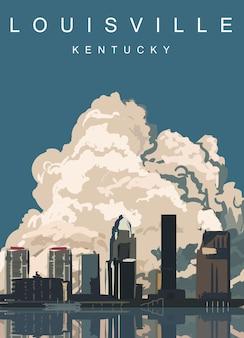 ルイビルのモダンなポスター。ケンタッキー州ルイビル